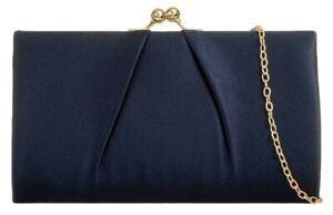 Navy Clutch Bag Ladies Clasp Top Dark Blue Satin Evening Purse Shoulder Bag