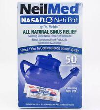 NeilMed NasaFlo Neti Pot with 50 Premixed Packets (Firm Blue Pot) Fast Free Ship