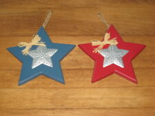 """2 RED & BLUE 6"""" WOOD STARS WITH TOP ALUMINUM STAR"""