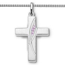 Mädchen Zirkonia Kreuz Anhänger zur Taufe Kommunion Firmung mit Kette Silber 925