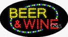"""NEW """"BEER & WINE"""" 27x15 OVAL SOLID/ANIMATED LED SIGN W/CUSTOM OPTIONS 24132"""