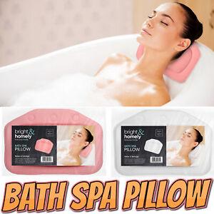 Luxury Bath Spa Pillow Pink/White Non Slip Comfort Suction Spa Cushion Neck Back