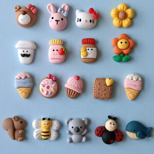 20pc Mixed Resin Cartoon Animals Foods Flowers Flatback Buttons for Crafts Decor