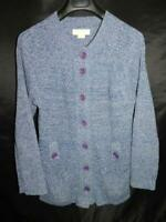 Michael Kors L Blue Cardigan Sweater Button Front Pockets Marled Cable Knit Lg