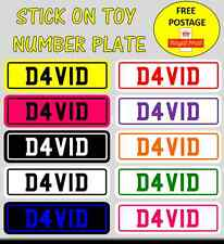 Toy car novelty childrens number plate sticker PERSONALISED & FREE postage (x1)