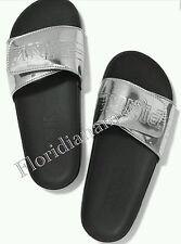 New Victorias Secret PINK Silver Slides Slipper Flip Flops Sandal Big S 5-6 NWT