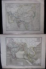 1867 ASIA INDOSTAN 2 maps India Thailand Malaysia China Japan Vietnam Southeast