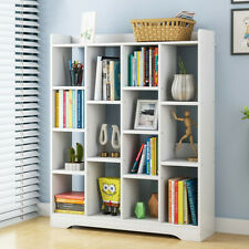 Floor Shelf Wood Bookcase Storage Shelves Organizer Book Case Bookshelf White