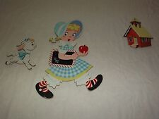 VINTAGE DOLLY TOY CO OHIO SCHOOL HOUSE GIRL WITH APPLE WALL DECORATIONS
