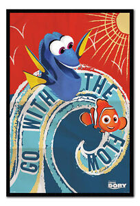 Finding Dory Go With The Flow Poster Magnetic Notice Board Inc Magnets