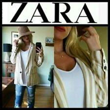 ZARA Tan Striped Linen Blend Boyfriend Lined One-Button Blazer Jacket ~XL  M3020
