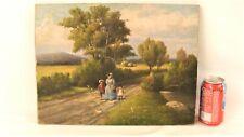 Antique Herbert Fish Summer Day Landscape O/C Painting