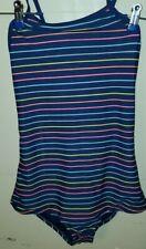 GAP KIDS 14-16 Girls Swim Suit Navy Blue Multi Colored Stripes
