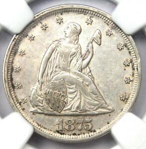 1875-P Twenty Cent Coin 20C - Certified NGC AU Details - Rare Date 1875 Coin!