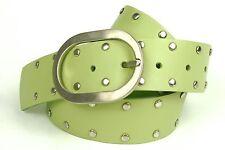 G1-38 Nietengürtel Gürtel Leder Nieten grün 85 cm Jeansgürtel Hosengürtel NEU