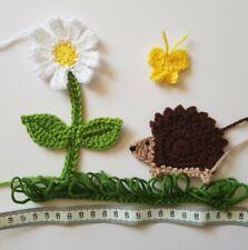 Handmade crochet applique set: cute  hedgehog ,daisy flower and butterfly