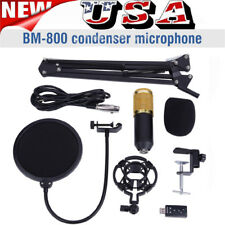 BM800 Condenser Microphone Kit Studio Pop Filter Boom Scissor Stand Mount US