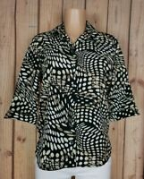 ALLISON DALEY Womens Size 8 Petite 3/4 Sleeve Shirt Button Down Polka Dot Top