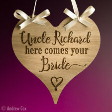Uncle Here Comes Your Bride Vintage Oak Wedding Signs Personalised Plaques 19cm