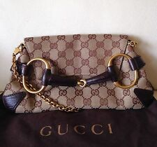 Auth GUCCI HORSEBIT TOM FORD CLUTCH BAG MONOGRAM GG BROWN  SHOULDER CHAIN