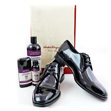 NIB Salvatore Ferragamo Charles Jet Black Patent Leather Derby Shoes 9 EE