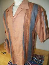 J. ANTHONY BROWN Linen 2pc hat Pimp Urban Lounge BUTTON Men's Shirt SIZE LARGE