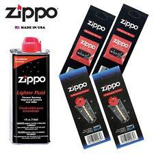 Zippo 4 fl oz Fluid Fuel and 2 Vulet Pack ( 12 Flints + 2 Wick ) Gift Set Combo