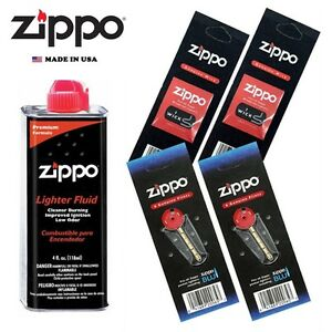Zippo 4 fl oz Fluid Fuel and 2 Vulet Pack ( 12 Flints + 2 Wick ) Gift Set Combo