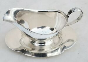 Sterling Silver Gorham 709 Gravy Boat with Attached Underplate-No Mono-FREE SHIP