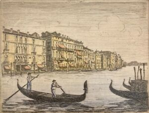 Venice Italy Gondola Etching Print Aquatint Pencil Signed Illegible Signature
