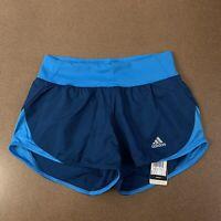 "ADIDAS Women's Size XS 3"" Run It Short Teal Turquoise Climalite Running Shorts"