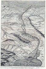 Antique map Suez canal Egypt 1858 stampa antica Egitto / holzstich Sues