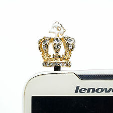 White Great Crystal Crown Anti Dust Earphone Jack Plug For iPhone 4S/5/5S/5C/6 a
