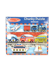 Brand New Melissa & Doug Vehicles Chunky Wood Puzzle