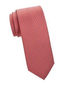 NEW Authentic SALVATORE FERRAGAMO Mens Multi Gancini Red Silk Tie