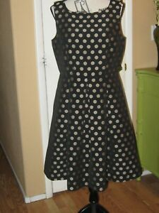 Talbots  Womens Black/ Gold Polka-dots Cocktail Party  Dress Sleeveless 12P