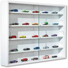 Wall Mounted Display Cabinet Wooden White 5 Shelves 2 Glass Doors Curio Toys