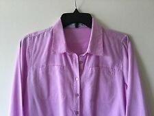 Women's MAURICES M Cotton Blend Casual Long Sleeve Shirt Solid Light Purple