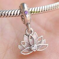 925 Sterling Silver Serene Lotus Flower Dangle Charm Pink Enamel Lilac CZ 2018