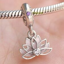 925 Sterling Silver Serene Lotus Flower Dangle Charm Pink Enamel Lilac CZ 2018