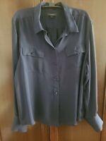 NWOT J. Crew Navy Sheer Silk Buttons Down Long  Sleeve Shirt Blouse Top Size 16