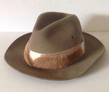 Vintage Hunter England Velour Fur Felt Hunting Fedora Panama Hat Fur Band SZ 60