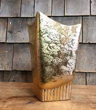 "Vintage STANFORD SEBRING Ceramic Pottery  9"" Gold Vase Abstract Home Decor Gift"