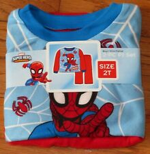 Boys Toddler Super Hero Spiderman 2pc Super Soft Flannel Pajamas Pj's Sz 2T *New