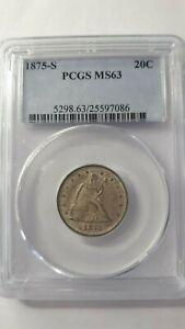 1875 S Twenty Cent pc PCGS MS63