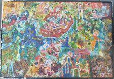 Tableau Art Brut Naif Religion Voyage Arche de Noe Huile signée Christiane Alsac
