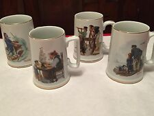 Norman Rockwell Long John Silvers Seafarers Collection 4 Mug Set