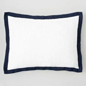 Oake Bedding Linen Collection Voile Pickstitch King Pillow Sham White/Navy  $115