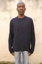 Guess by Marciano Mens Long Sleeved Grey Casuals Top Black Cotton Striped XL