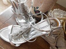 Ladies Silver Strappy High Heels by Lasonia, SZ, 7.5 (M,B)